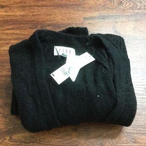ELLE Open Style Long Sleeve Black Knit Cardigan